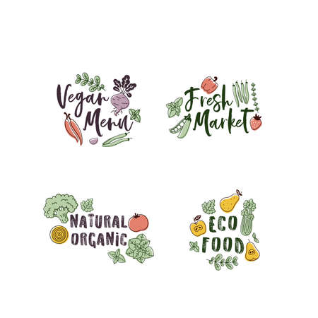 Oganic vegetables labels. Linear graphic. Scandinavian minimalist style. Healthy food design. Vector illustration Ilustracja