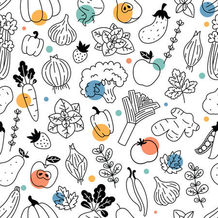 Vegetables seamless pattern. Linear graphic. Vegetables background. Scandinavian style. Healthy organic food pattern. Vector illustration