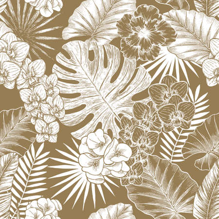 Exotic flowers and leaves seamless pattern. Tropical style. Vector illustration