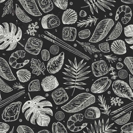 Seafood chalkboard pattern. Sushi, shrimp, mussel, oyster, salmon, seashell, herbs, carp, sardine, monstera. illustration