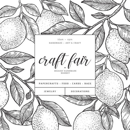 Lemon backgrond design template. Engraved  botanical style illustration. Vector illustration Ilustracja