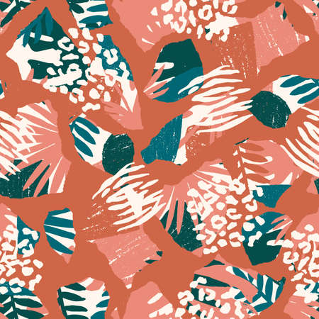 Seamless abstract exotic pattern. Jungle palm leaf, leopard and zebra texture. Wild nature. Vector illustration