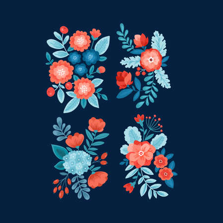 Floral elements. Folk style flowers, leaves and berries.