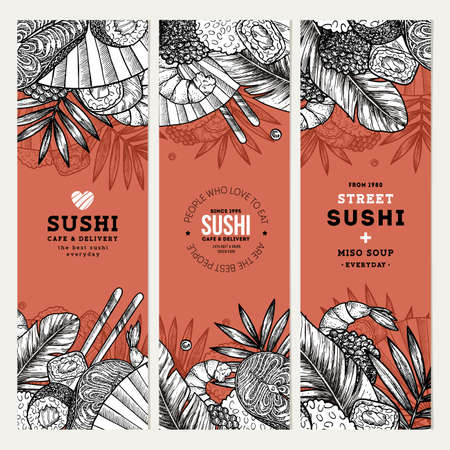 Sushi cafe and restaurant banner templates. Asian food background. Vector illustration Ilustrace