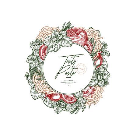 Tasty basil, tomato and pasta linear round design. Engraved frame illustration. Italian cuisine. Packaging label. Vector illustration