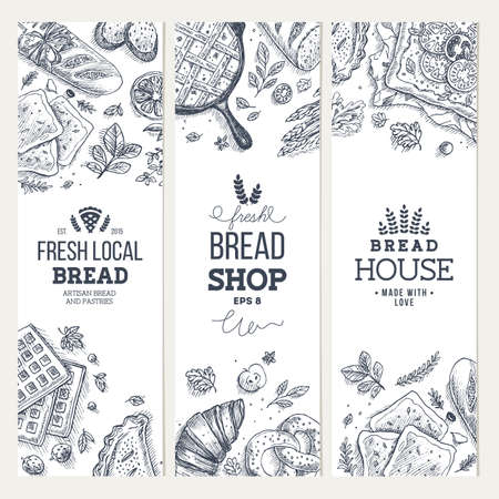 Bakery background. Linear graphic. Bread banner collection. Vertical banner set. Bread and pastry collection. Bread house.
