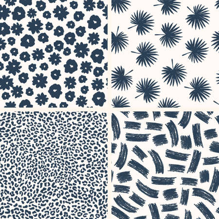 Minimalist seamless pattern collection. Set of ink and pencil textures. FLowers, palms, leopard, doodles. Vector illustration Ilustrace