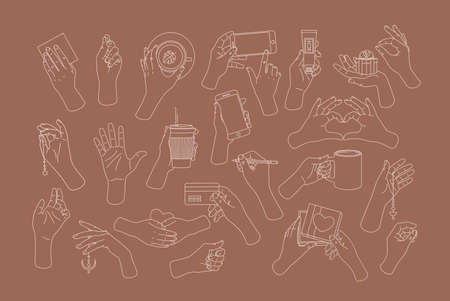 Women hands collection. Hands holding smartphone, card, tube, coffee cup, tea cup, credit card and pencil. Feminine illustration.
