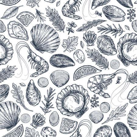 Seafood various seamless pattern. Shrimp, mussel, oyster, seashell, herbs. Vector illustration