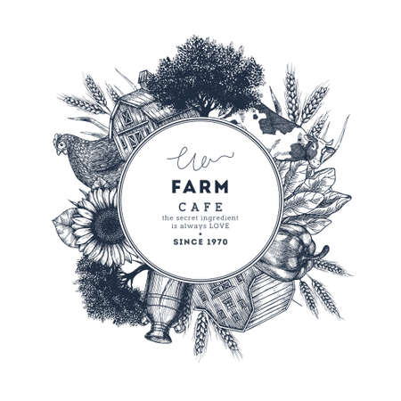 Farm food round design template. Fresh vegetables. Retro card. Farm vegetables and animals. Vector illustration