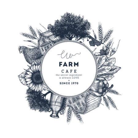 Farm food round design template. Fresh vegetables. Retro card. Farm vegetables and animals. Vector illustration