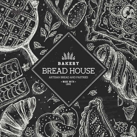 Bakery background. Linear graphic. Bread and pastry collection. Bread house. Engraved top view illustration.