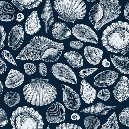 Seashell elegant seamless pattern. Engraved style elements. Various shell forms.