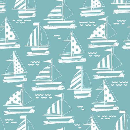 Summer sail boat background. Seamless pattern. Kid nautical illustration. Illustration