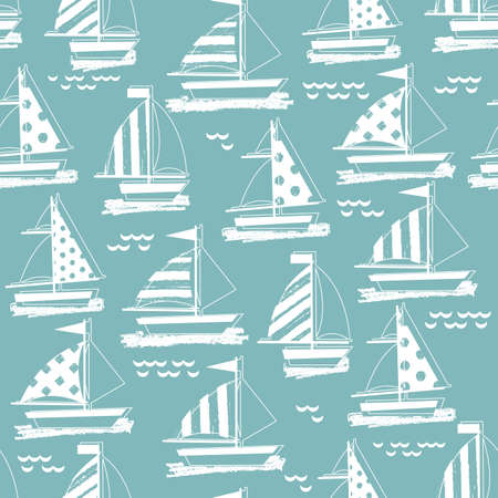 Summer sail boat background. Seamless pattern. Kid nautical illustration. Ilustracja
