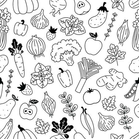 Vegetables seamless pattern. Linear graphic. Scandinavian style. Healthy organic food pattern. Vector illustration Ilustracja