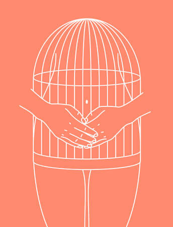 Woman body in a cage illustration