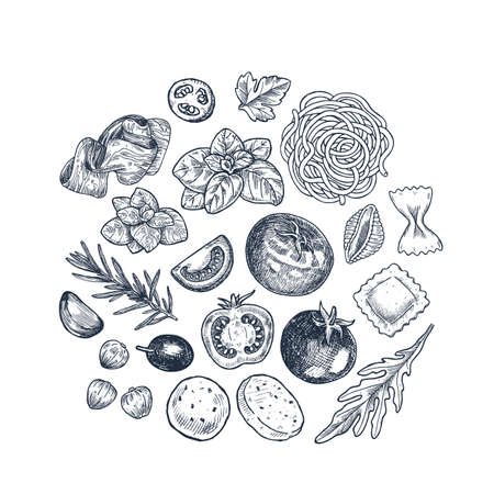 Tasty basil, tomato, olive, garlic, meat and pasta linear elements. Engraved illustration. Italian ingredients. Illustration
