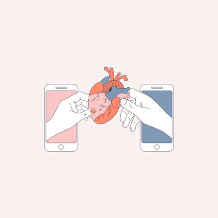 Couple hands holding an anatomical heart. Smartphone digital illustration. Dating application. Vector illustration Illustration