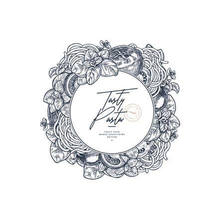 Tasty basil, tomato and pasta linear round design. Engraved frame illustration. Italian ingredients. Packaging label. Vector illustration