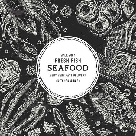 Seafood top view illustration.