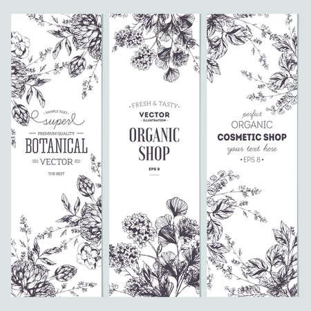 Floral banner collection. Illustration