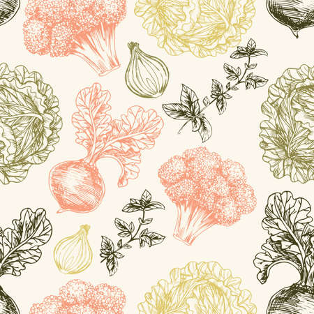 Organic seamless pattern. Fresh vegetables. Vector illustration