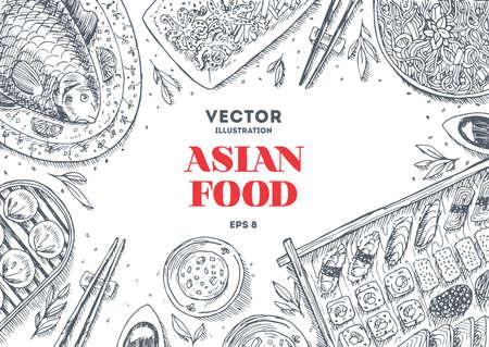 Asian Food Frame. Sushi restaurant design template. Linear graphic. Vector illustration