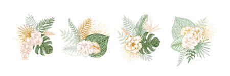 Exotic tropical flower collection. Wedding invitation elements. Paradise green and gold leaves and flowes. Illustration