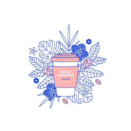 Coffee cup with exotic plants and leaves. Take away design template. Flat graphic. Vector illustration
