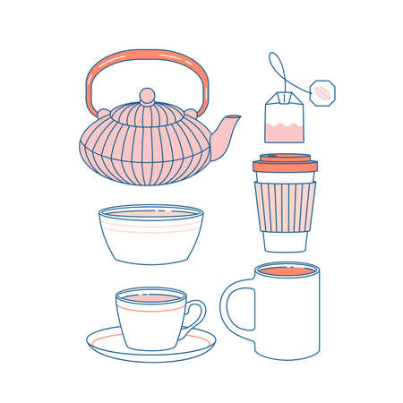 Coffee and tea cup  mug and kettle collection. Flat graphic. Vector illustration