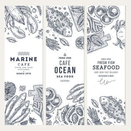 Seafood banner template set. Fish restaurant vertical design collection. Engraved style illustration. Vector illustration Illustration