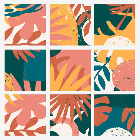 Abstract tropical doodle vector highlight covers. Abstract backgrounds. Social media backgrouds.