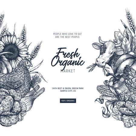 Summer rural design template. Fresh vegetables. Retro card. Farm vegetables and animals. Vector illustration