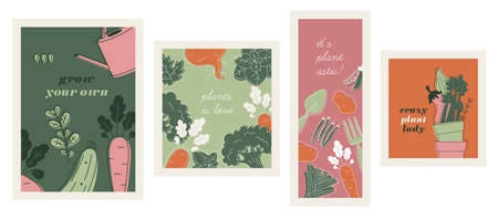Minimalist vegetables and garden design templates. Linear graphic. Cards and posters. Scandinavian style. Illustration