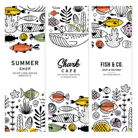 Sealife fun banner collection. Linear graphic. Kid design. Scandinavian style. Vector illustration