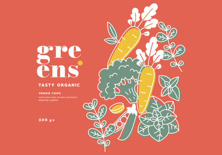 Minimalist food design template. Linear graphic. Carrot, basil, peas, broccoli and rosemary. Scandinavian style. Vector illustration