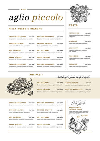 Restaurant vertical menu template. Italian cafe identity. Pasta and bruschetta. Minimalist style. Engraved illustrations.