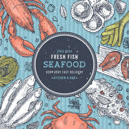 Sea food top view illustration. Fish restaurant table background. Engraved style illustration. Hero image.