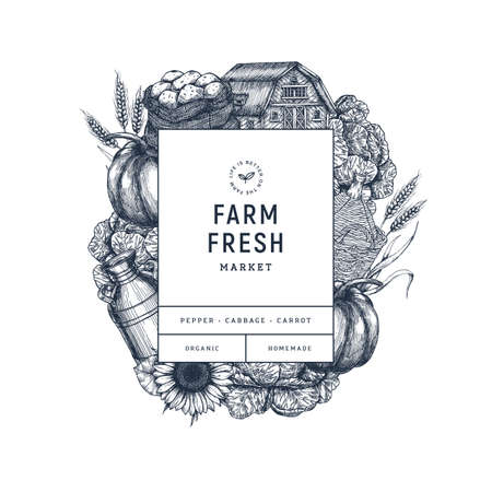 Farm fresh products design template. Vintage style organic vegetables, house, potato, pumpkin, sunflower, cabbage, wheat. Vector illustration