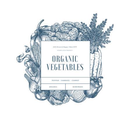 Healthy organic vegetables design template. Farm fresh vegetables engraved illustration. Vector illustration