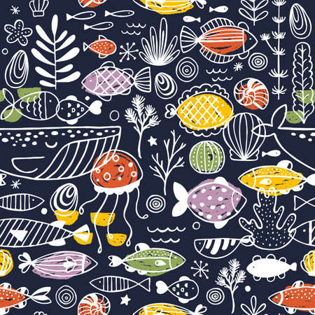 Fish and sealife doodle seamless pattern. Linear graphic. Kid design. Scandinavian style. Vector illustration