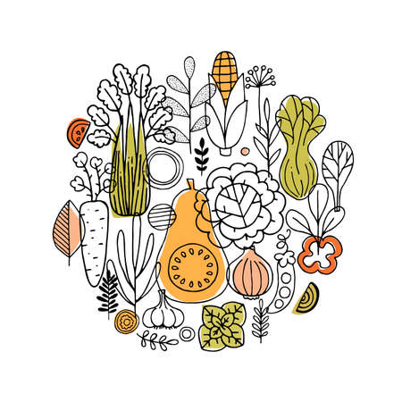 Various vegetables round composition. Vegetables background. Scandinavian minimalist style. Healthy food Vectores