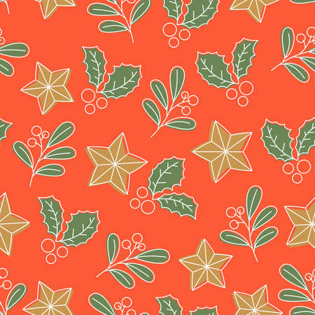 Christmas florals seamless pattern. Mistletoe leaves. Vectores