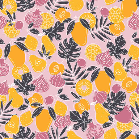 Tasty fruit seamless pattern. Mangom fig, pear, lemon, peach, leaves. Scandinavian style pattern. Vector illustration. Vectores