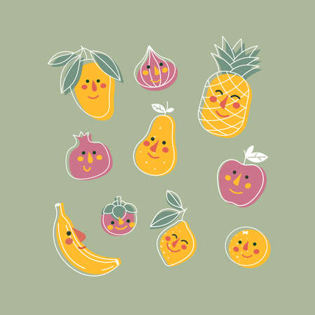 Various fruits with cute faces. Kids print illustration. Funny cute characters. Vector illustration.