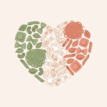 Variety of italian pasta heart shape. Different kind of pasta. Engraved style illustration. Vector illustration