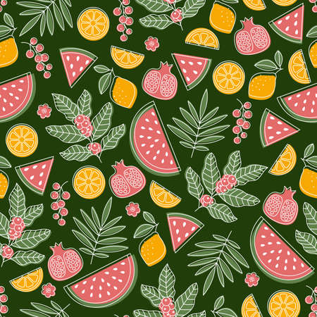 Summer fruit seamless pattern. Watermelon, berry, coffeem pomegranate, leaves. Scandinavian style pattern.