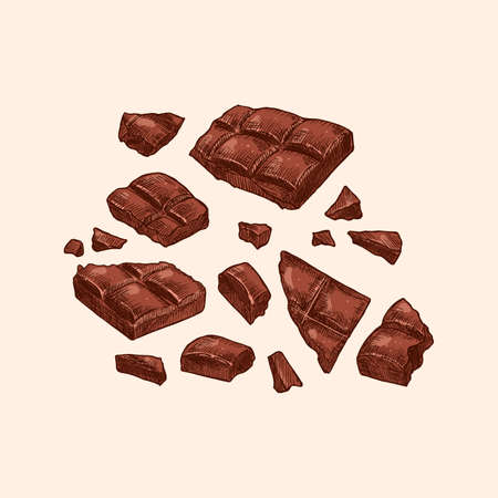 Colored chocolate bar explosion. Engraved sketch style. Vector illustration.