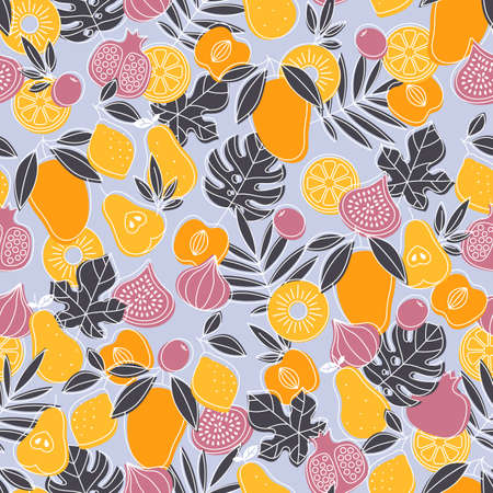 Tasty fruit seamless pattern. Mangom fig, pear, lemon, pomegranate, pineapple, peach, leaves. Scandinavian style pattern. Vectores